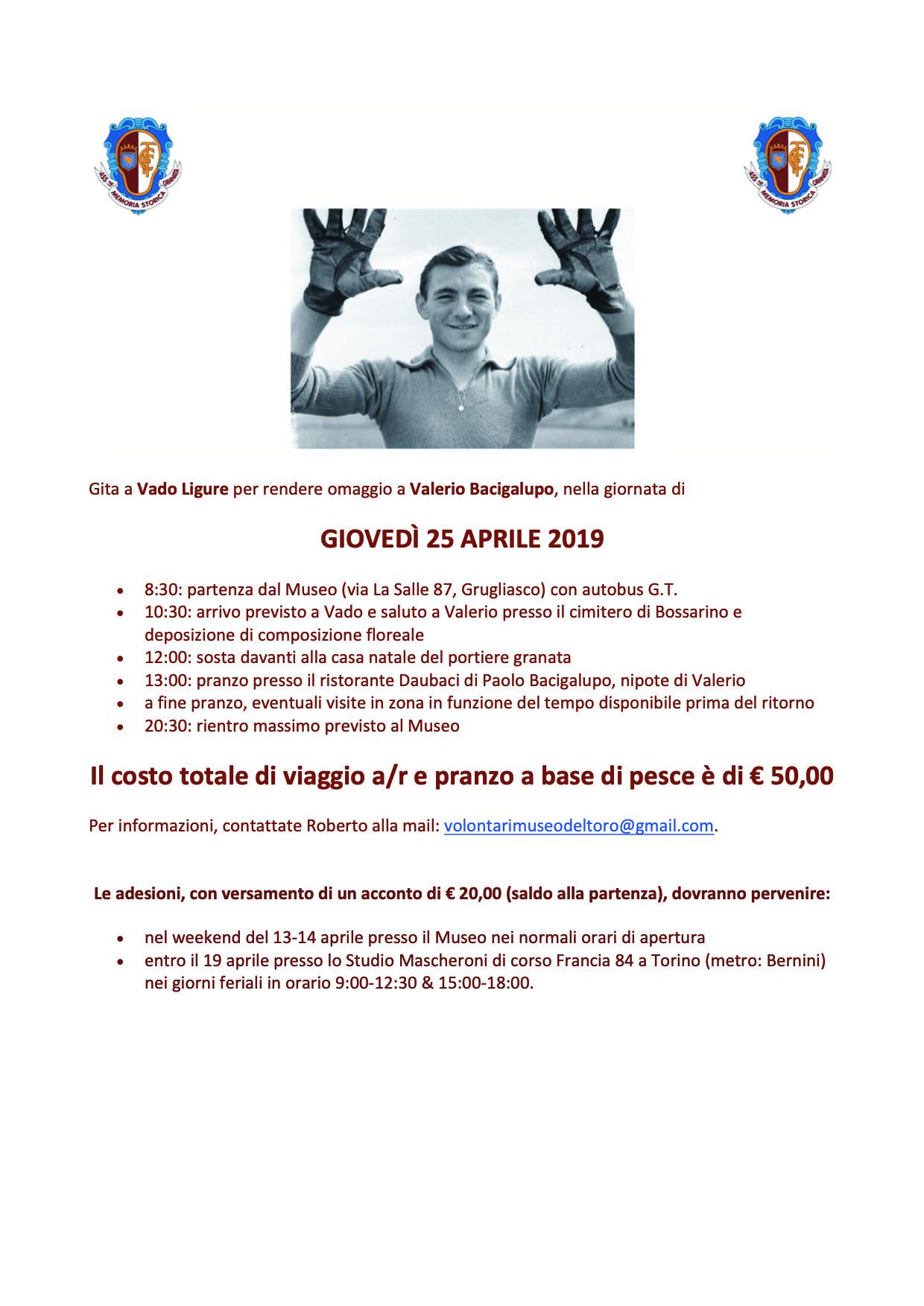 GITA PER BACIGALUPO A VADO LIGURE 25/04/2019